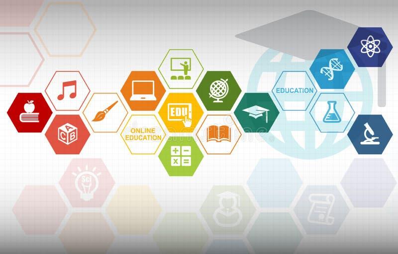 Online-utbildningsbakgrund stock illustrationer
