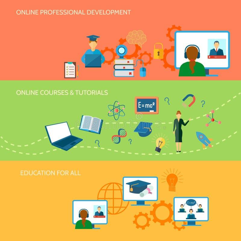 Online-utbildningsbaner stock illustrationer