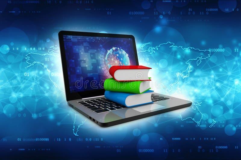 Online-utbildningsbegrepp - bärbar datordator med färgrika böcker framförande 3d stock illustrationer