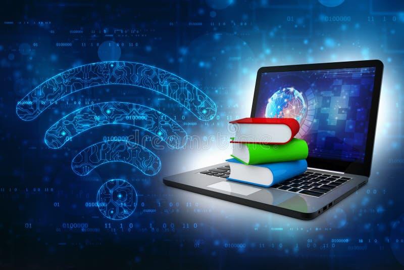 Online-utbildningsbegrepp - bärbar datordator med färgrika böcker framförande 3d vektor illustrationer