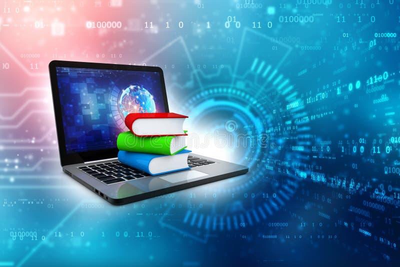 Online-utbildningsbegrepp - b?rbar datordator med f?rgrika b?cker framf?rande 3d royaltyfri illustrationer