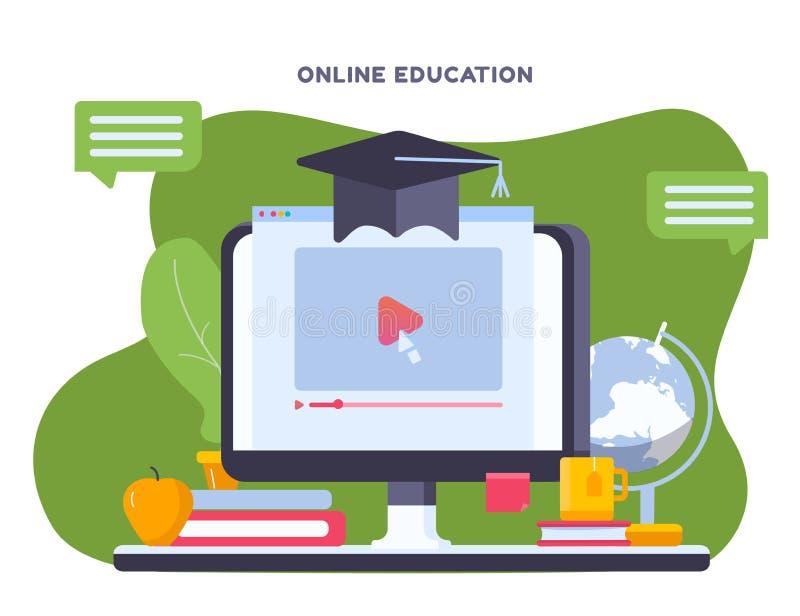 Online-utbildningsbegreppet med anteckningsboken och studien anmärker, hatten, pennan, bok Modernt på platsen som lär utbildning  royaltyfri illustrationer
