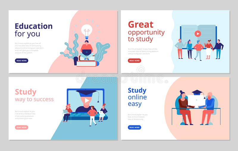 Online-utbildningsbegreppsbaner vektor illustrationer