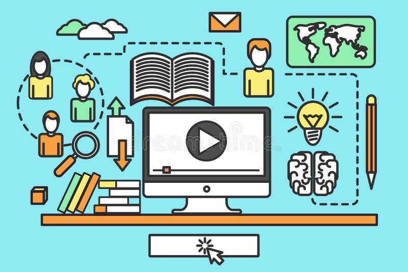 Online-utbildningskurser royaltyfri illustrationer