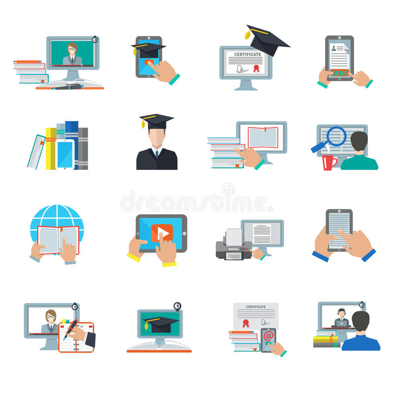 Online-utbildningslägenhetsymbol vektor illustrationer