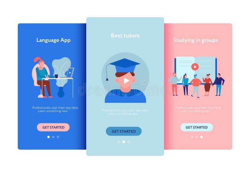 Online-utbildningslägenhetuppsättning stock illustrationer