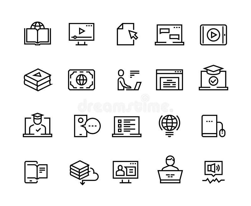 Online-utbildningslinje symboler E-lära datorutbildning, online-avlägsen utbildning, orubblig bärbar dator Bildande video vektor illustrationer