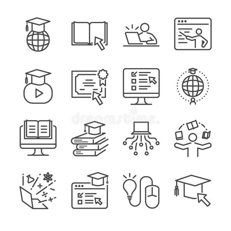 Online-utbildningslinje symbolsuppsättning Inklusive symbolerna som avlade examen, böcker, student, kurs, skola och mer stock illustrationer