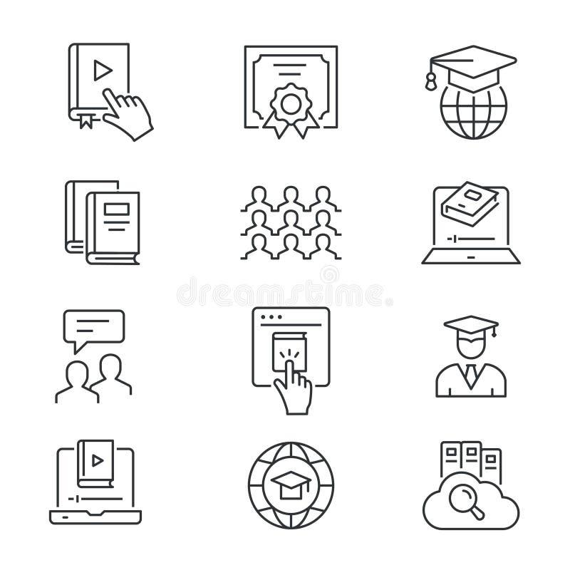 Online-utbildningslinje symbolsupps?ttning Svart vektorillustration Redigerbar slagl?ngd vektor illustrationer