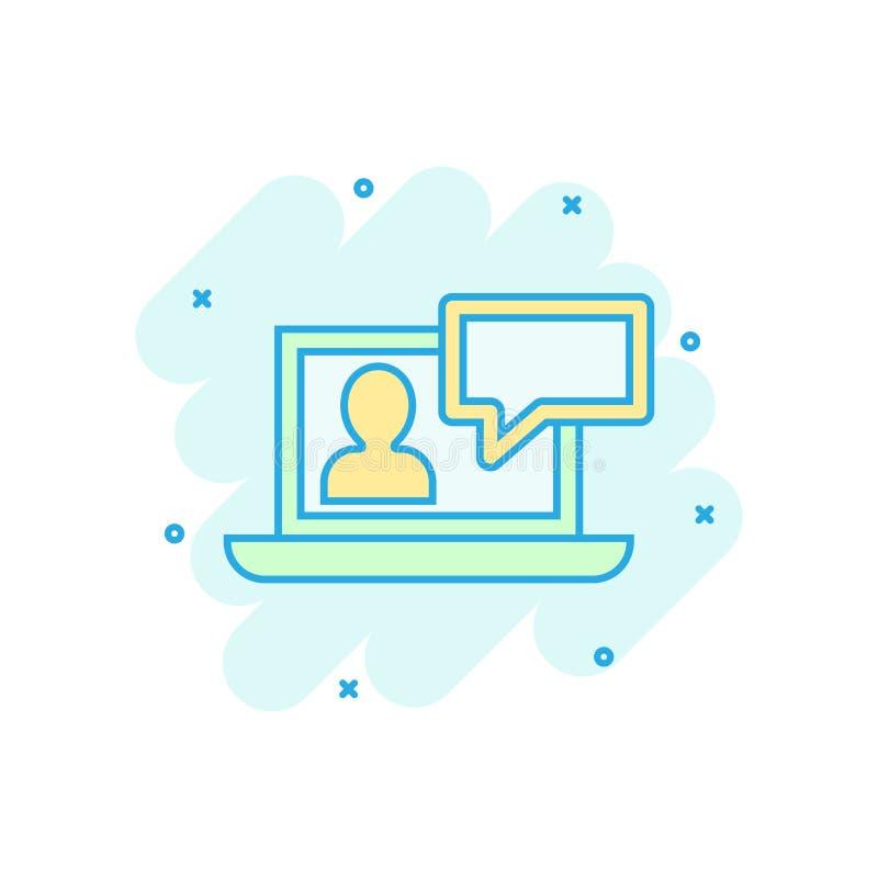 Online-utbildningsprocesssymbol i komisk stil Pictogram för illustration för tecknad film för Webinar seminariumvektor E-lära aff royaltyfri illustrationer