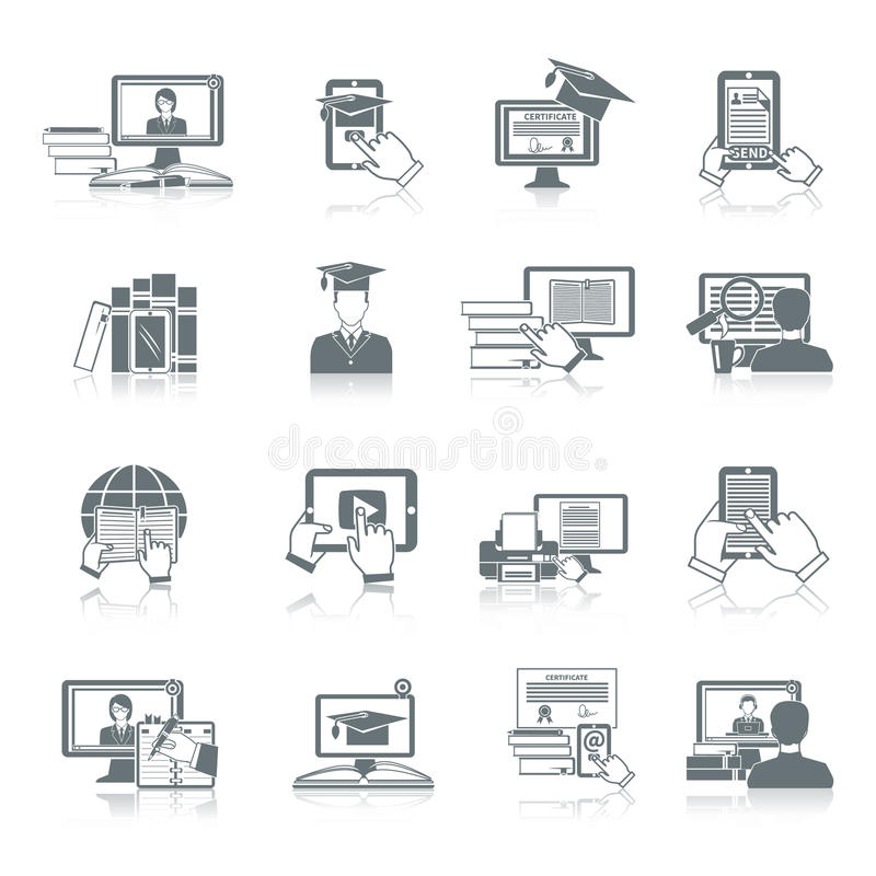 Online-utbildningssymbol vektor illustrationer