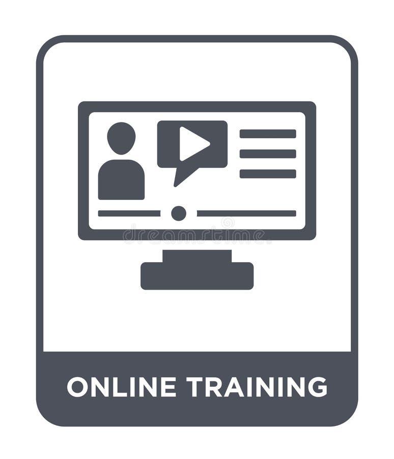 online-utbildningssymbol i moderiktig designstil online-utbildningssymbol som isoleras på vit bakgrund online-enkel utbildningsve royaltyfri illustrationer