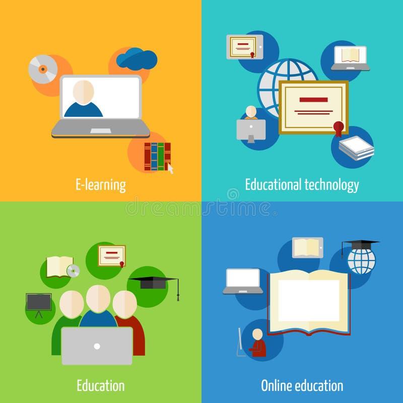 Online-utbildningssymbolslägenhet stock illustrationer