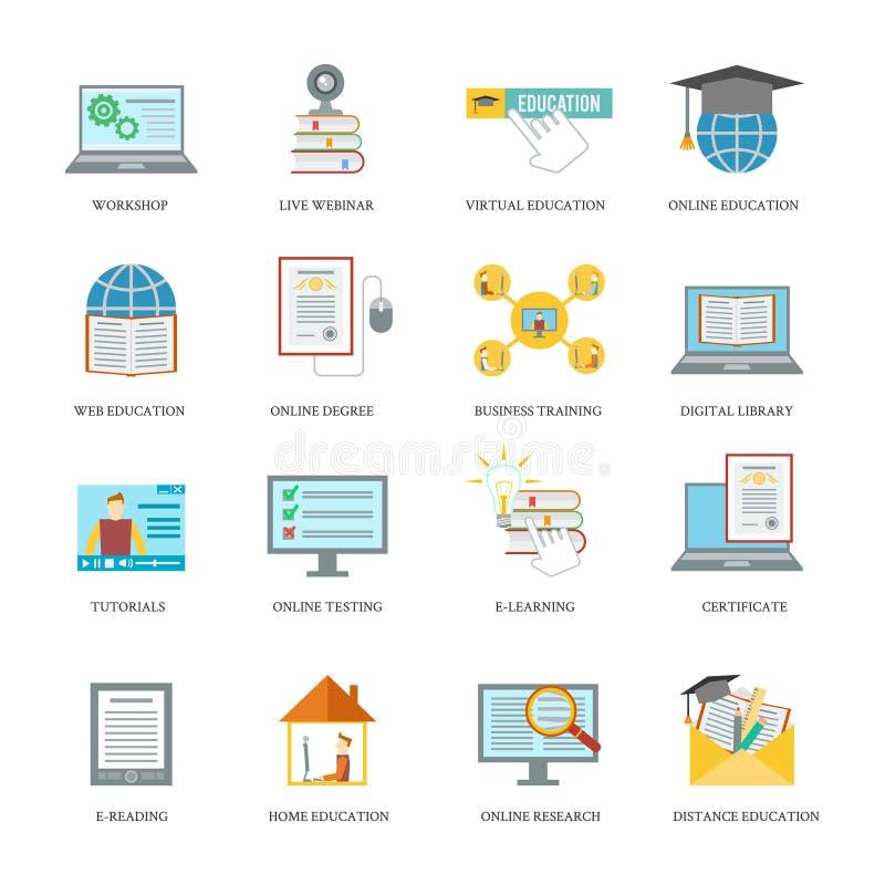 Online-utbildningssymbolsuppsättning royaltyfri illustrationer