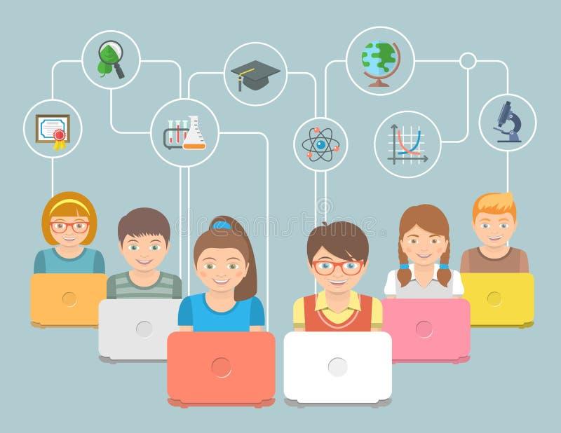 Online-utbildningsungar sänker den begreppsmässiga illustrationen vektor illustrationer