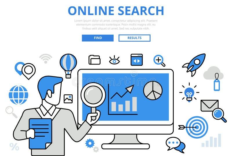 Online van de het concepten vlakke lijn van onderzoeksresultaten SEO de kunst vectorpictogrammen stock illustratie
