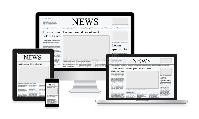 Online van de het conceptencomputer van de nieuws vectorillustratie de tabletkrant vector illustratie