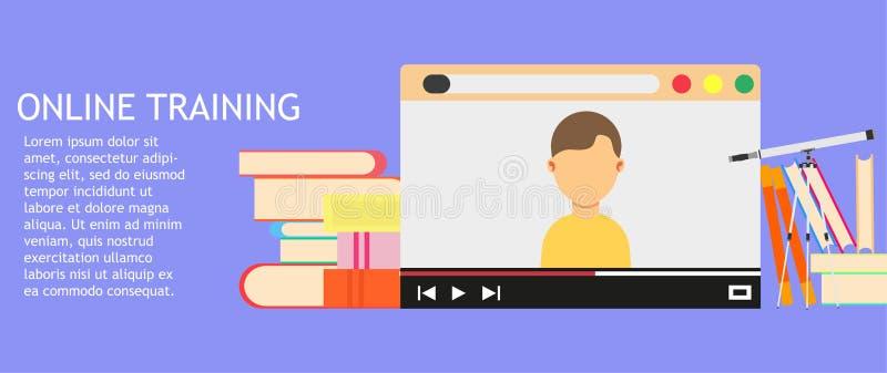 Online van het bedrijfs opleidingsonderwijs technologie De vector van de de bibliotheekcursus van het universiteitsweb Van de de  royalty-vrije illustratie