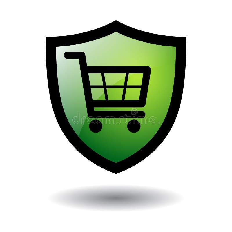 Online veilig het winkelen geïsoleerd pictogram vector illustratie
