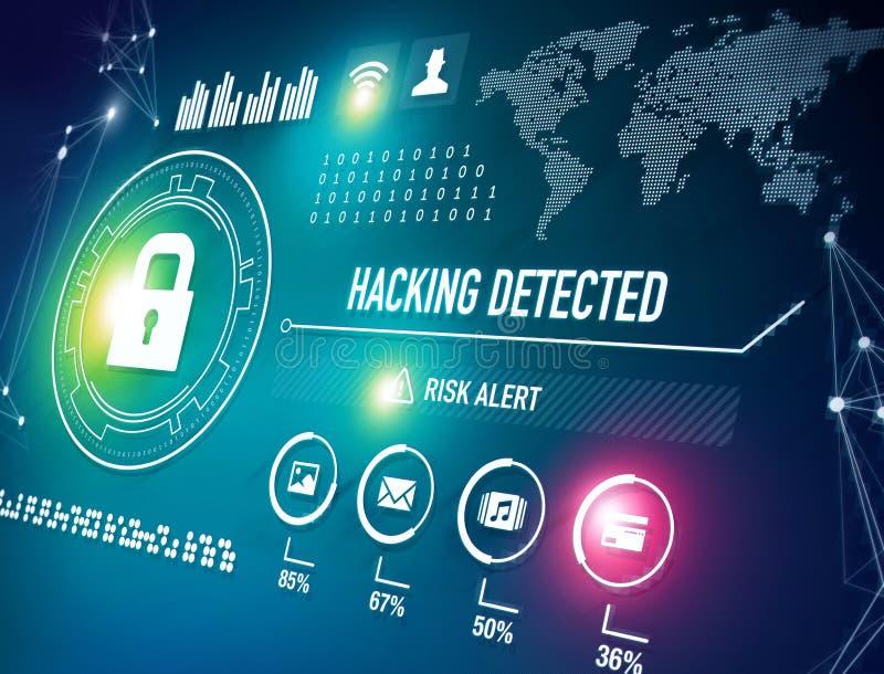 Online Veiligheid en het Binnendringen in een beveiligd computersysteem Alarm royalty-vrije illustratie