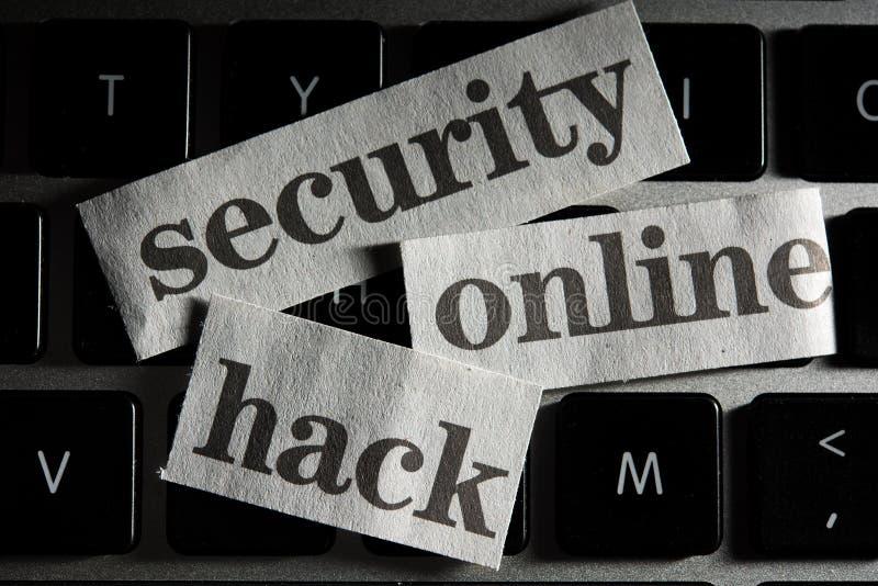 Online Veiligheidsconcept met verwijderde woorden van krant royalty-vrije stock foto's