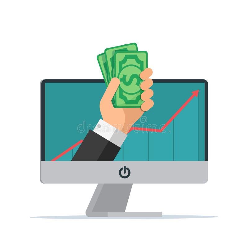 Online verdienend De hand met computer houdt geld Geschokte beeldverhaal chef- mens stock illustratie