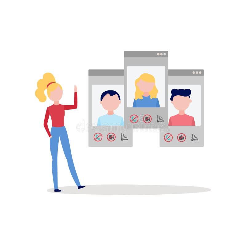 Online-video appellpratstundkonferens med kvinnan som använder smartphoneskärmar för att samtala med grupp människor stock illustrationer