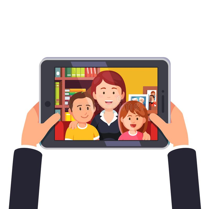 Online video call with mother and two kids royalty free illustration