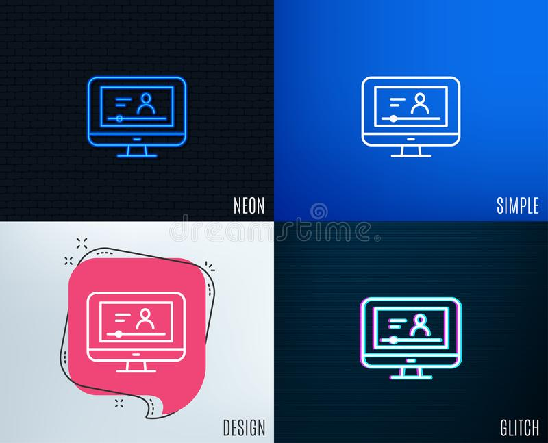 Online Video Education line icon. Notebook sign. Glitch, Neon effect. Online Video Education line icon. Computer with Online lecture sign. Web player symbol royalty free illustration