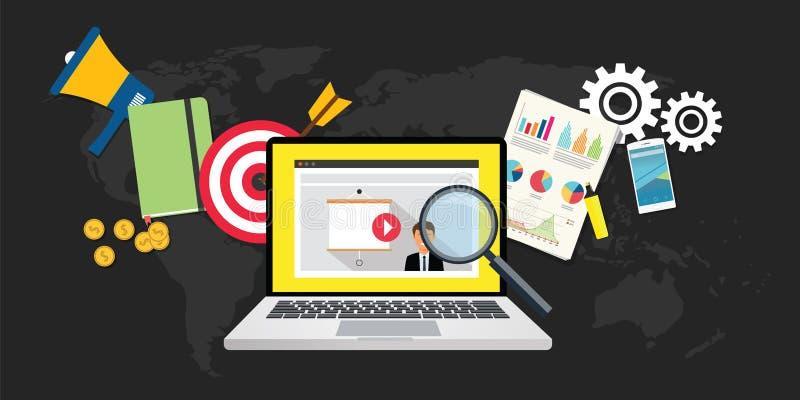 Online video marketing vector illustration