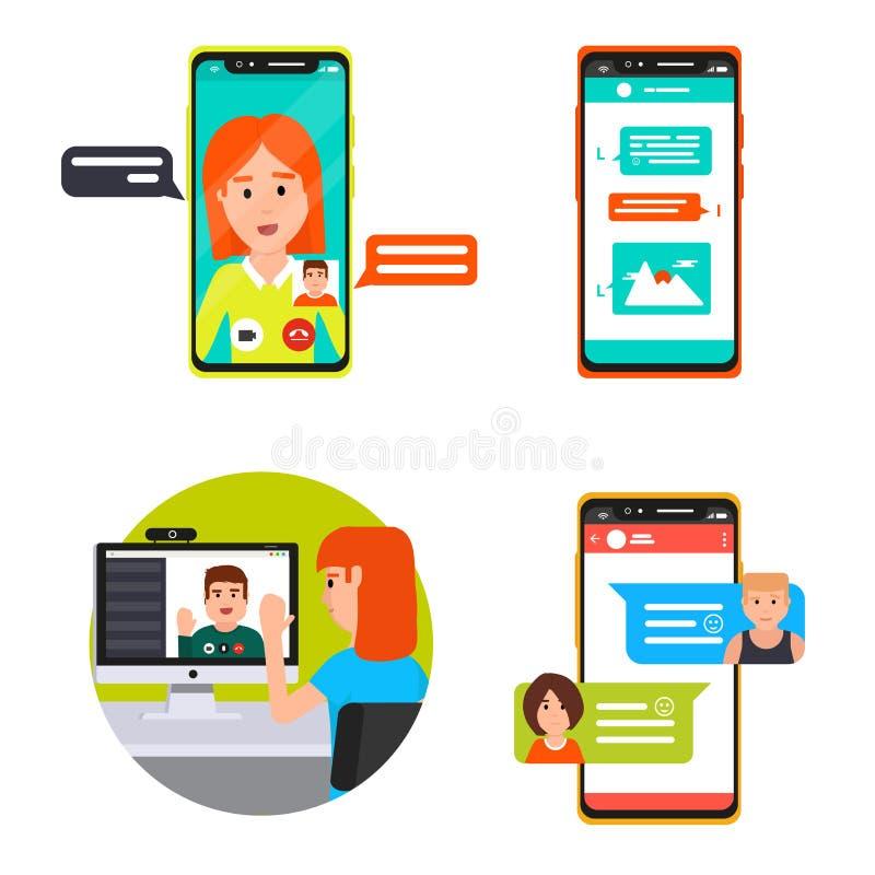 Online video, messenger chatting stock photos