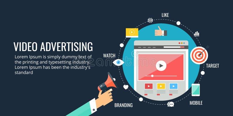 Online video, reclame, videobevordering, digitaal marketing concept Vlakke ontwerpbanner vector illustratie