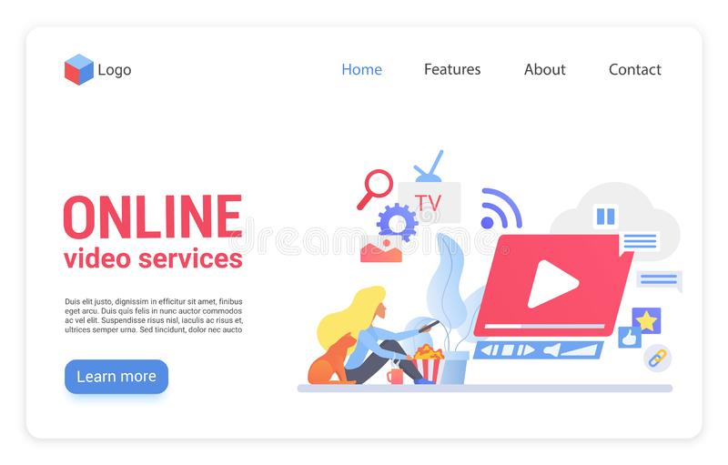 Online video service flat vector landing page template royalty free illustration