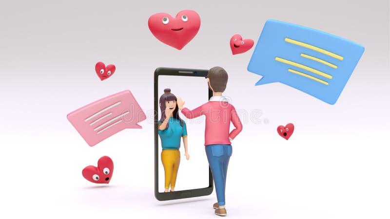 Online-video stanna till smartphone mellan älska tecken två med att prata asken och tecknad filmhjärtaform stock illustrationer