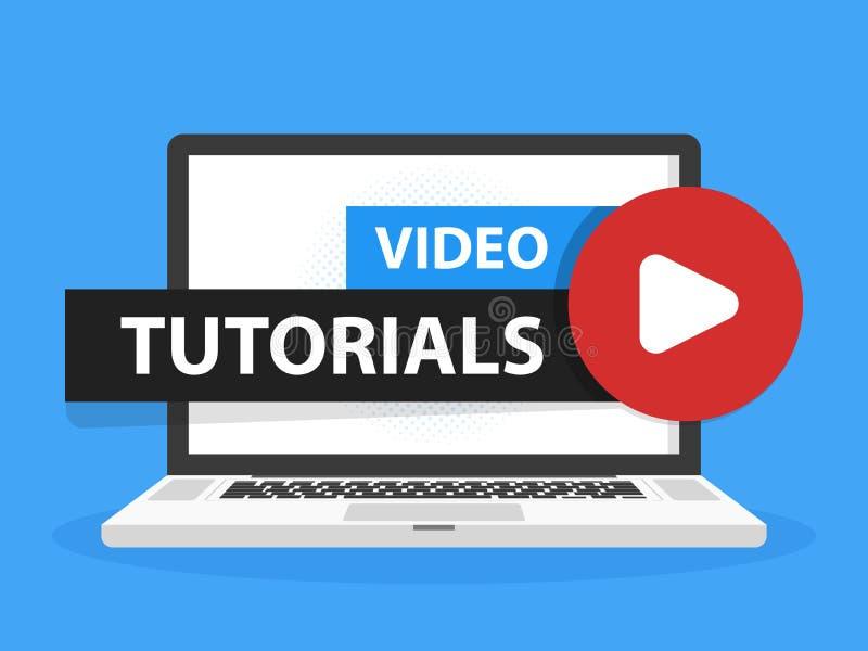 Online-video tutorialsutbildningsknapp i skärm för bärbar datoranteckningsbokdator Lekkursbegrepp också vektor för coreldrawillus royaltyfri bild