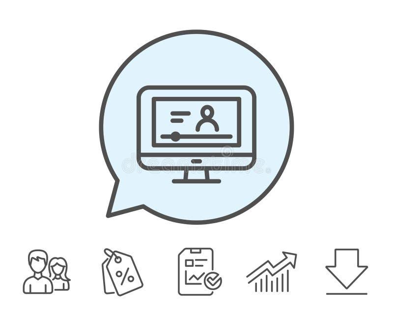 Online-video utbildningslinje symbol Anteckningsboktecken stock illustrationer