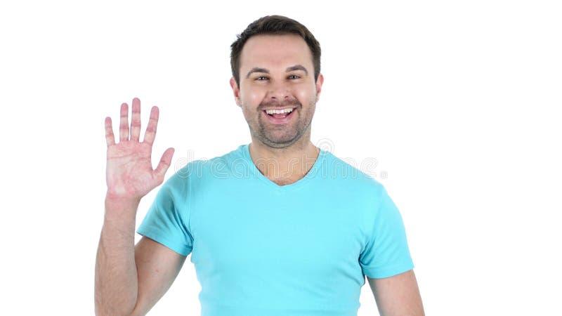 Online videopraatje, sprekende midden oude mens, witte achtergrond royalty-vrije stock foto