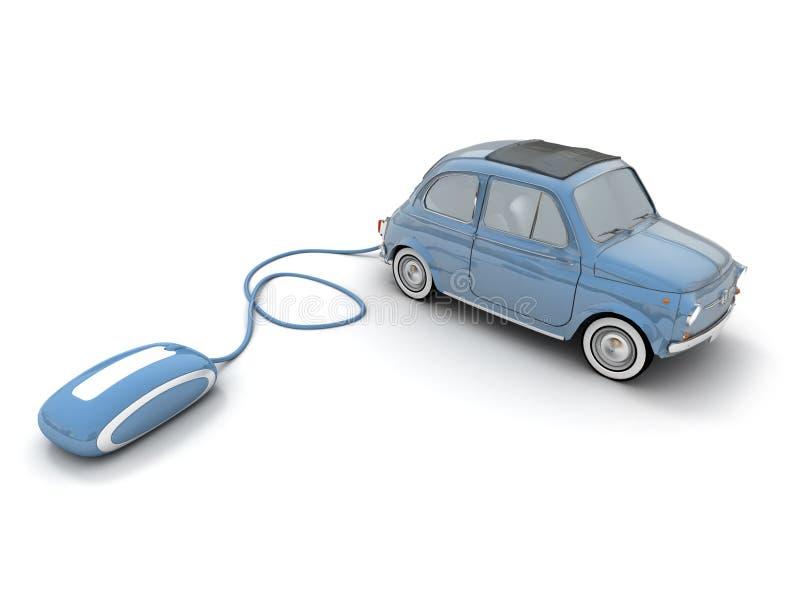 Online vintage car shopping in blue royalty free illustration