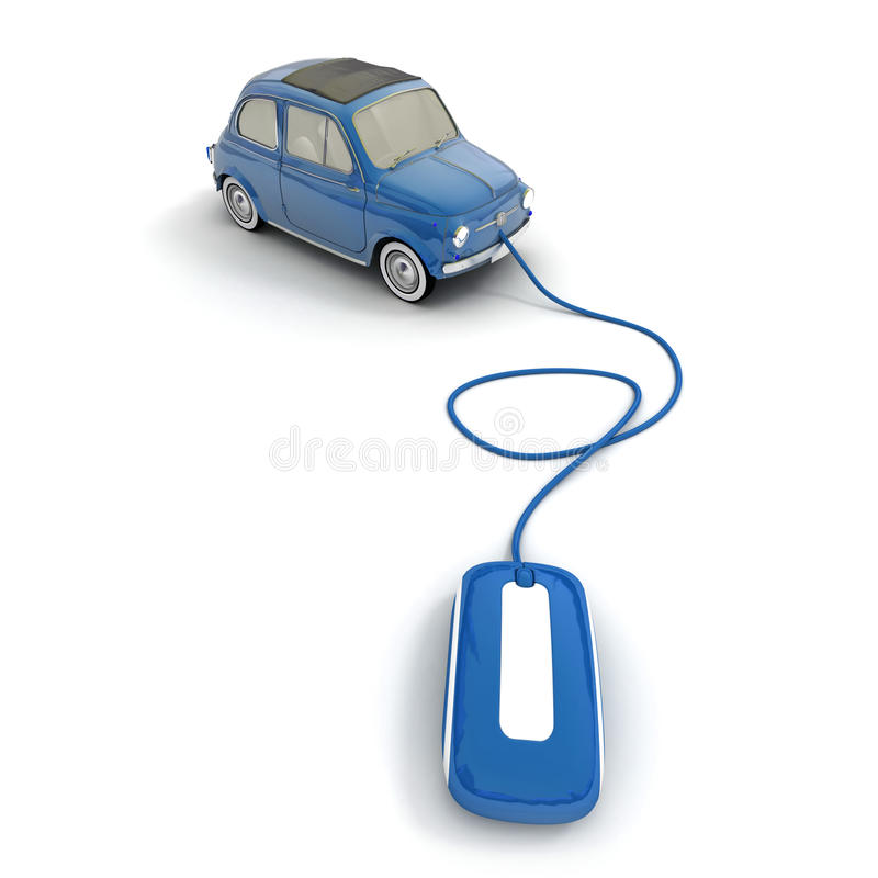 Online vintage car shopping in blue stock illustration