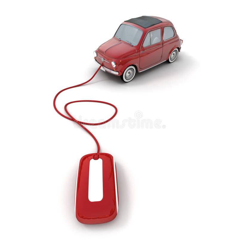 Online vintage car shopping in red stock illustration