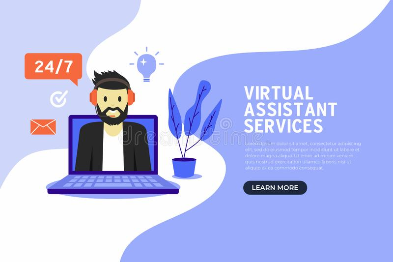 Online virtual assistant services banner flat design. stock illustration