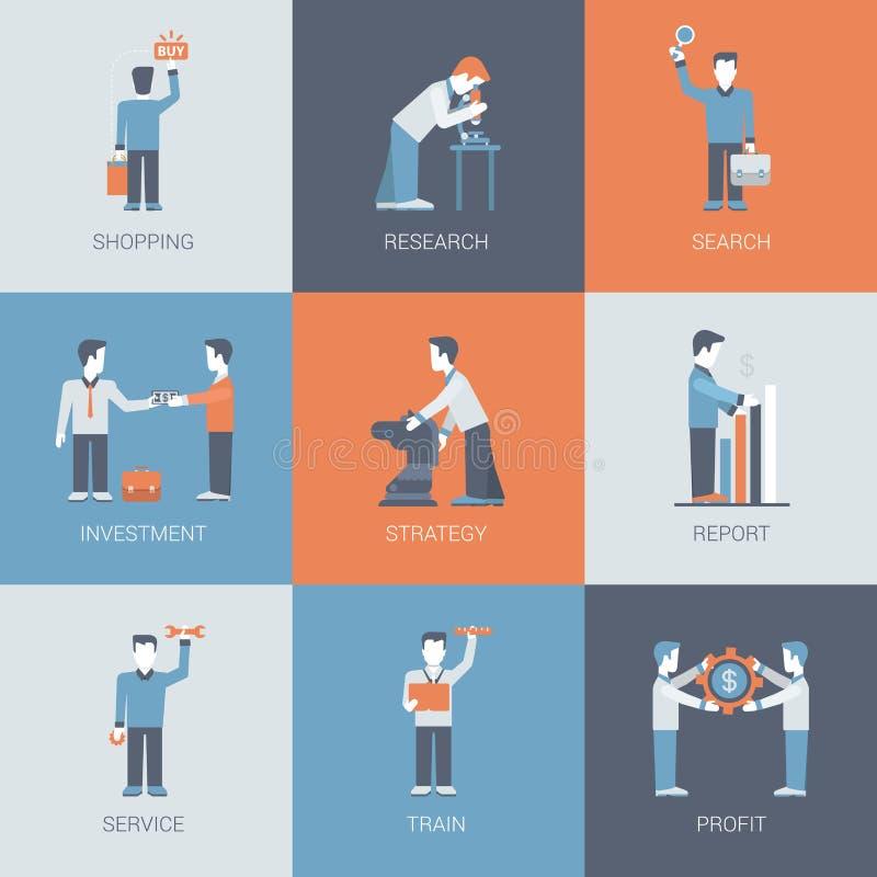Online vlakke vector het pictogramreeks van het bedrijfs het winkelen mensenconcept stock illustratie