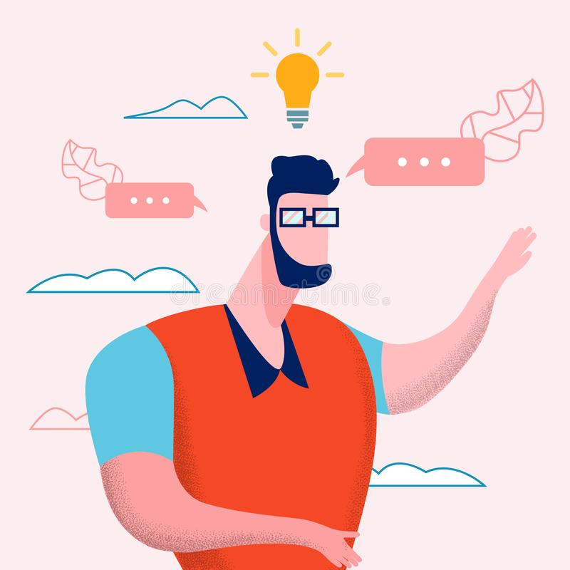 Online Vlog Content Idea Vector Flat Illustration royalty free illustration