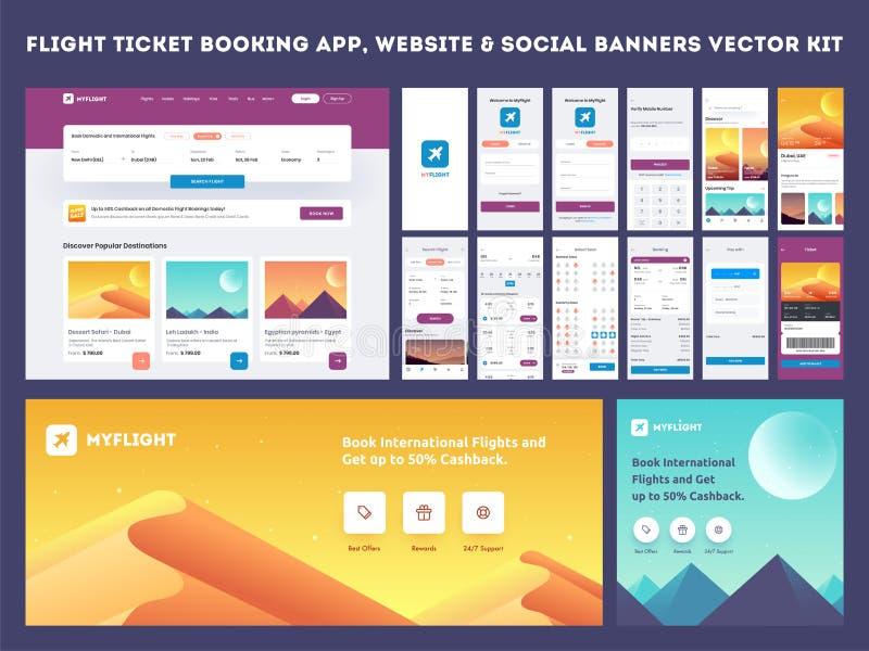 Online Vlucht die App onboarding websitebanner of malplaatjeuitrusting boeken vector illustratie