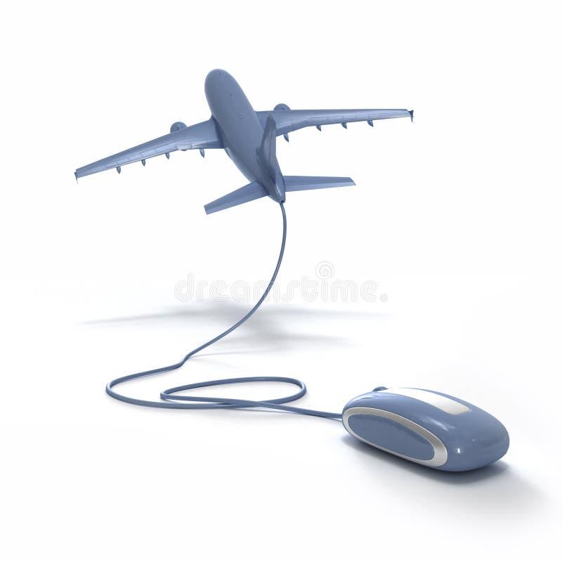Online vlucht die grijze blu boekt royalty-vrije illustratie