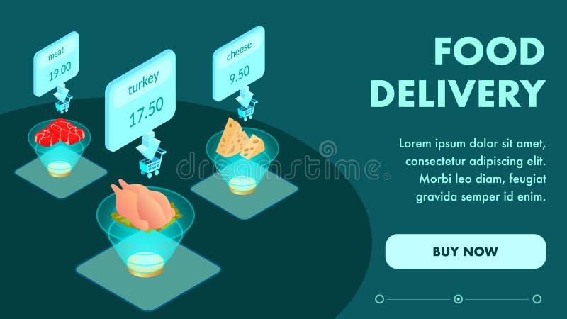 Online Voedsel die tot Isometrisch Webpaginamalplaatje opdracht geven stock illustratie