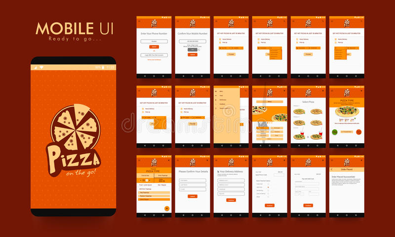Online Voedselorde Mobiele App UI, UX en GUI royalty-vrije illustratie