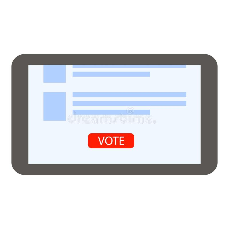 Online vote tablet icon, flat style. Online vote tablet icon. Flat illustration of online vote tablet vector icon for web design vector illustration