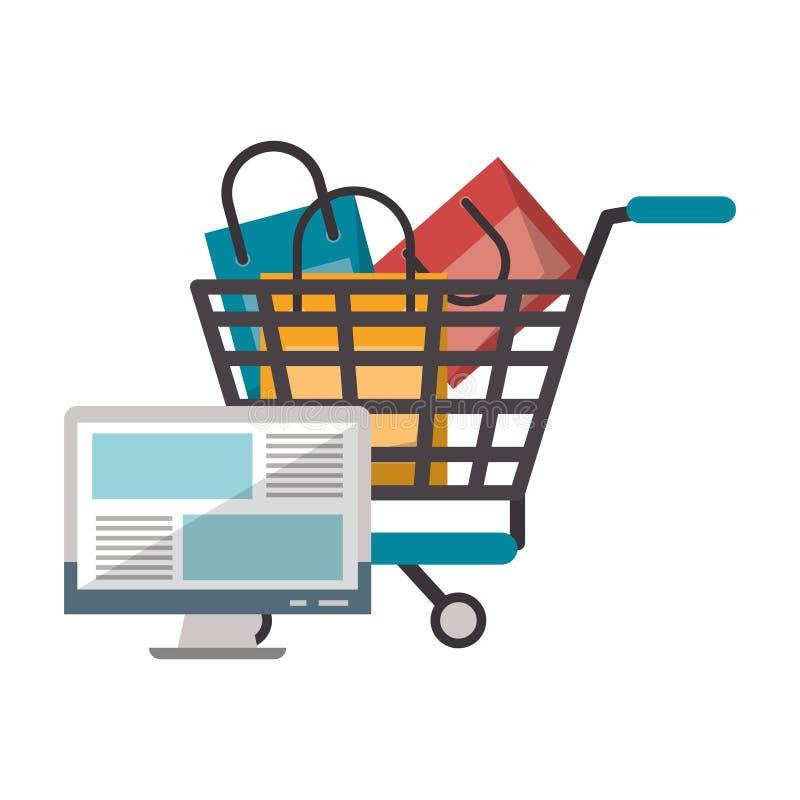 Online w?zek na zakupy ilustracji