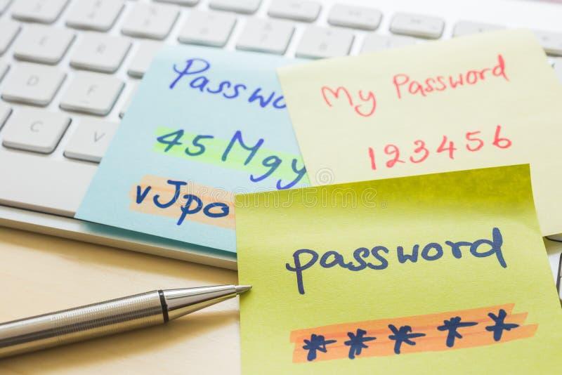 Online wachtwoordbeheer met keyborard, nota's, pen stock afbeeldingen